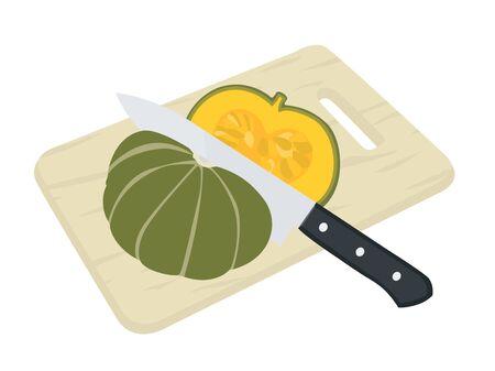 Illustration of cutting a pumpkin.