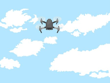 Illustration of a drone flying in the sky.
