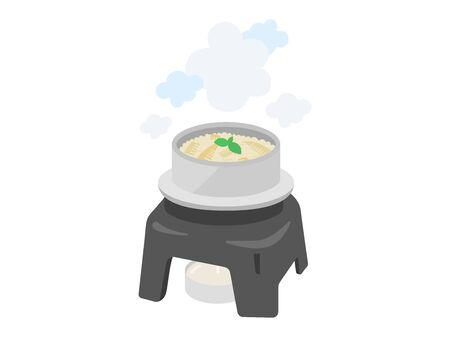 Illustration of rice cooked in a kiln. Illustration of Japanese food. Illustration
