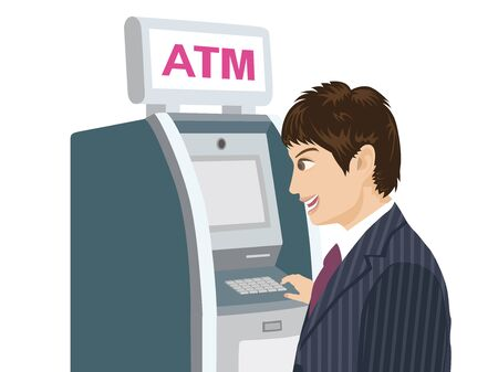 Illustration of a businessman using an Atm