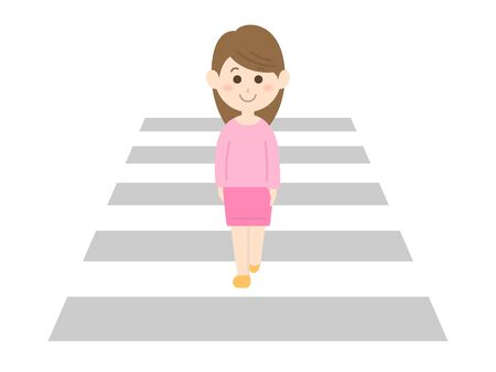 An illustration of a woman crossing a crosswalk. Illustration