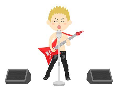 Illustration of a male rock musician Ilustracja