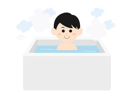 Illustration of a man taking a bath