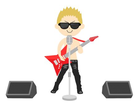 Illustration of a male rock musician Illustration