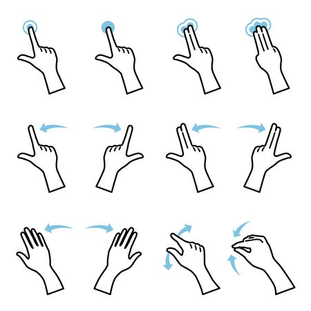 Illustration of hand gestures