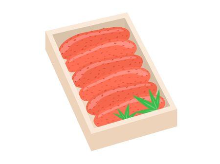 Illustration of Meitako in a wooden box