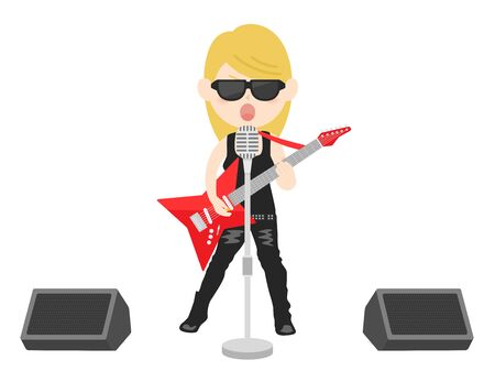 Illustration of a female rock musician Vetores