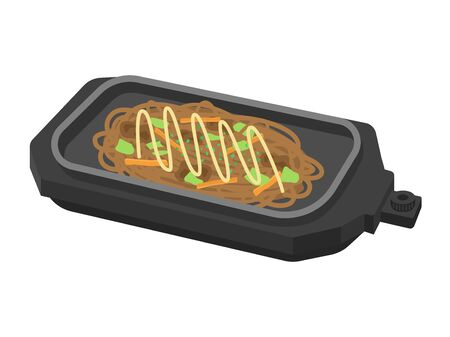 cook yakisoba on a hot plate