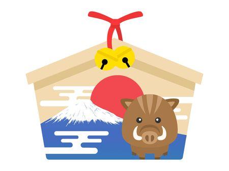 Illustration of a shrines ema Illustration