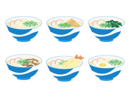 Illustration of different types of udon