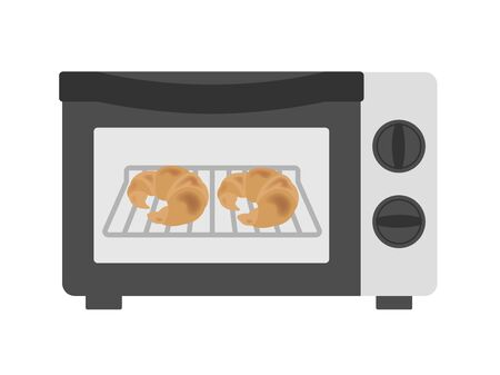 Illustration of baking bread in the toaster  イラスト・ベクター素材