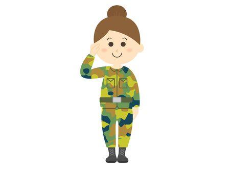 Illustration of female Self-Defense Forces personnel Illusztráció