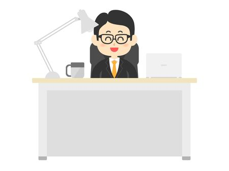 Illustration of a businessman working at a desk