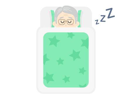 Illustration of an elderly man sleeping on a futon
