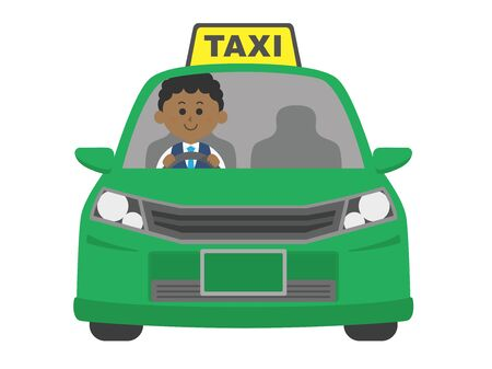 Illustration of a taxi driven by a black driver