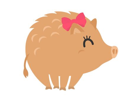 Illustration of wild boar with ribbon