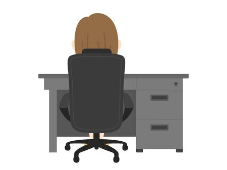 the back of a woman sitting at a desk and chair