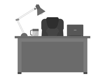 Illustration of a desk at work