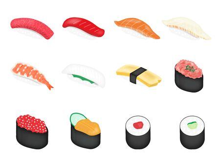 Illustration set of sushi Vector Illustration