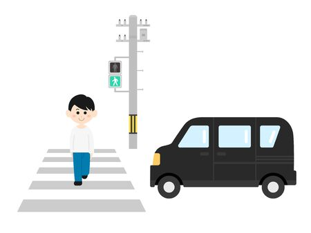 A man crossing a crosswalk 矢量图像