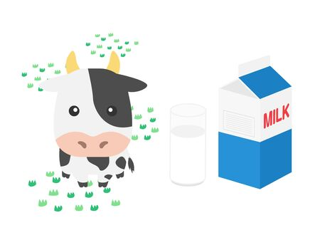Illustration of milk and cow Stock Photo