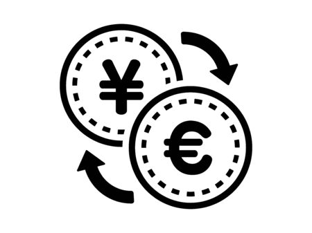Exchange of yen and euro Фото со стока