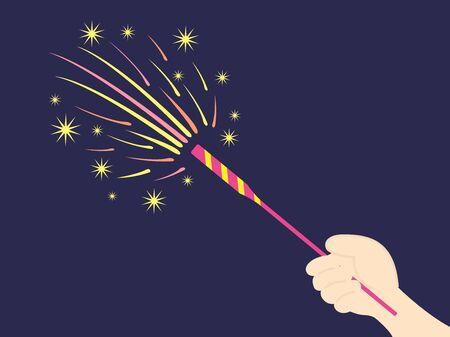 Illustrations of hand-held fireworks