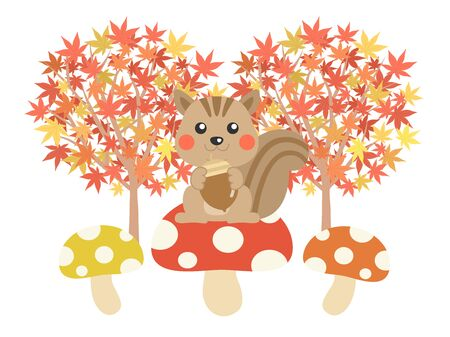 Squirrel and Forest Illustrations Imagens - 130267699