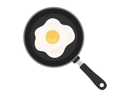 Illustration of frying pan and fried egg