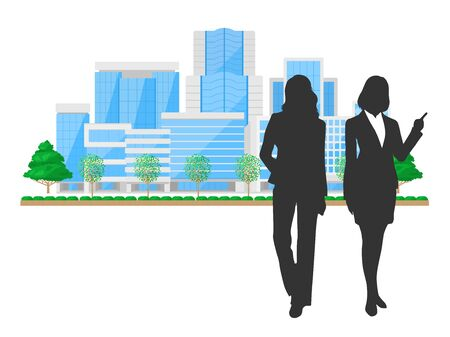 Illustration of an office building and a businessman