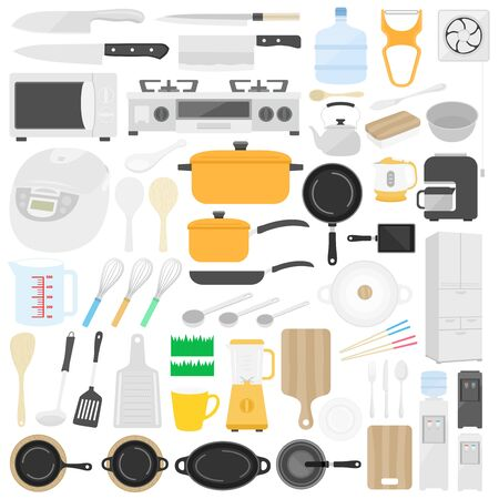 Illustration set of kitchen goods Archivio Fotografico