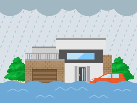 Illustration of the inundation of the house Imagens