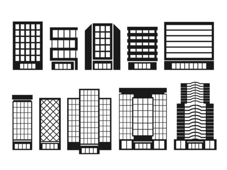 Illustration set of building icons 일러스트