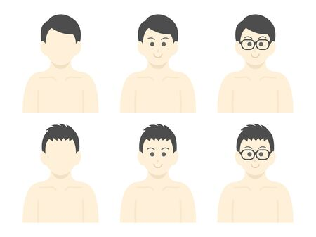 The icon set of the man naked in the upper body 스톡 콘텐츠