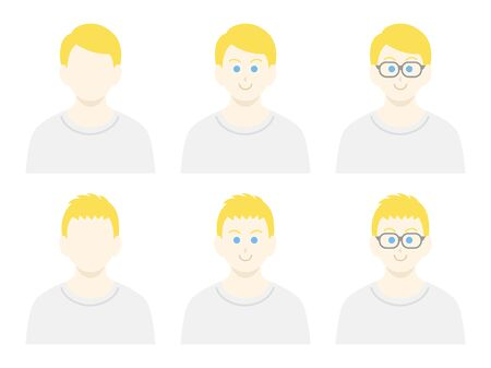 White male icon set in plain clothes