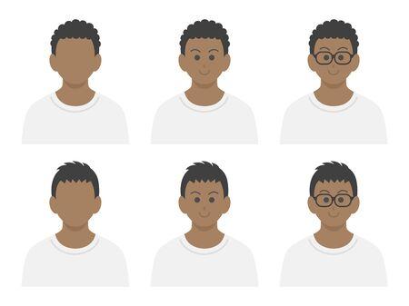 Black men icon set in plain clothes