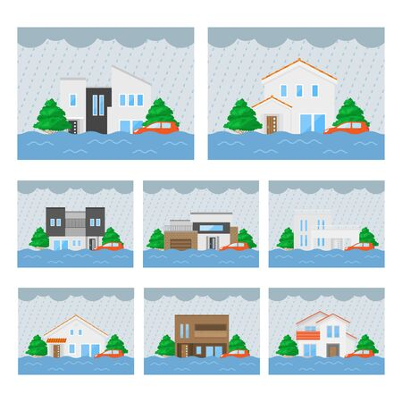 Illustration set of house inundation