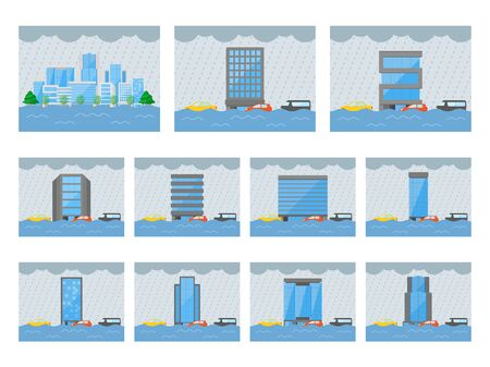 Illustration set of flooding of buildings Ilustrace