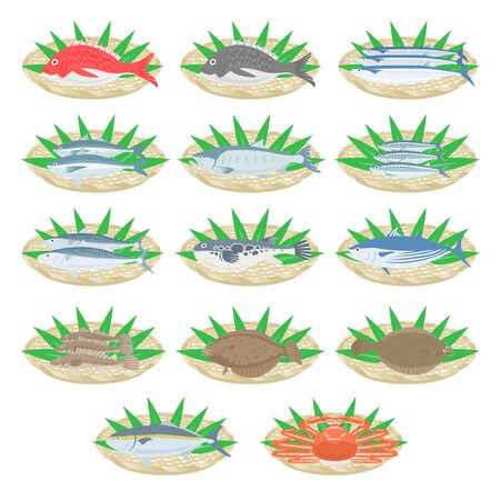 Fresh fish illustration set