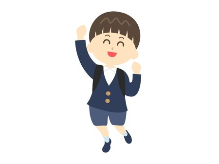 A boy in elementary school who is happy Vector Illustration
