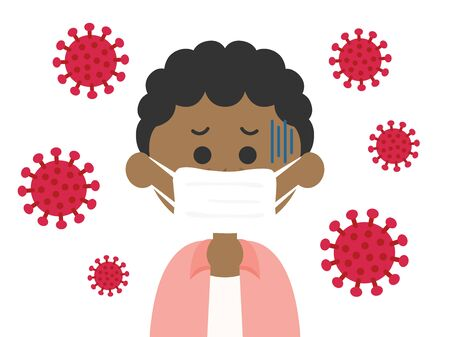 Illustration of a black man infected with a virus