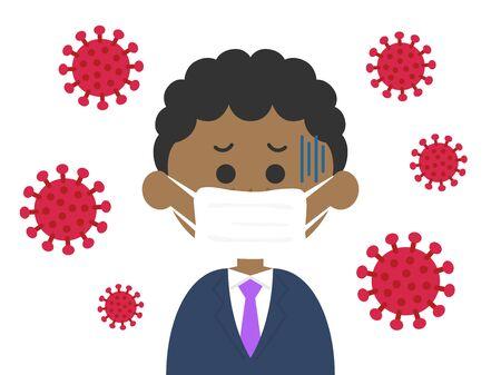 Illustration of a virus-infected black businessman