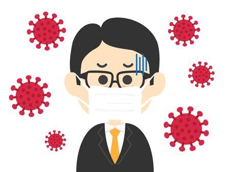 Illustration eines mit Viren infizierten Geschäftsmannes Vektorgrafik