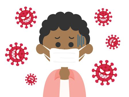 Illustration of a man infected with a virus