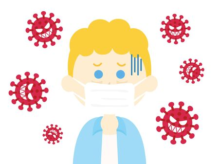 Illustration of a virus-infected white man