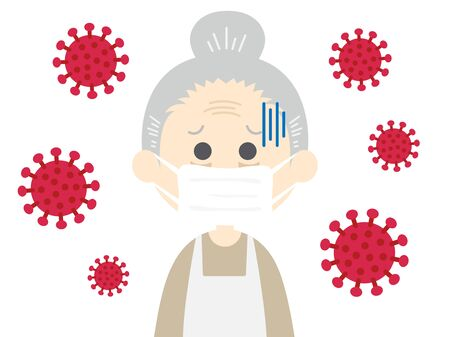 Illustration of an elderly woman infected with a virus Çizim