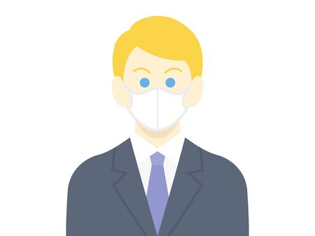 Illustration of a white businessman wearing a mask