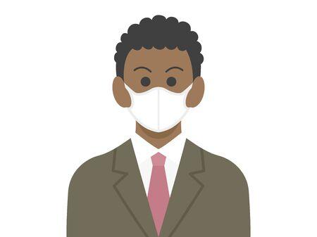 Illustration of a black businessman wearing a mask