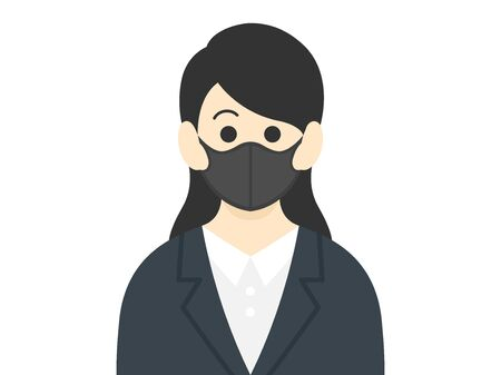 Illustration of a woman wearing a black mask