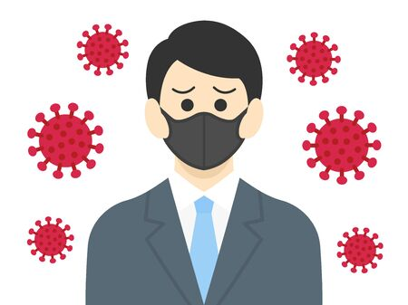 Illustration of a virus-infected businessman